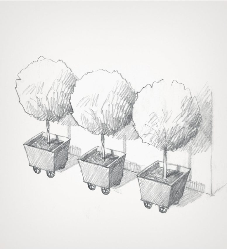 sketch of metal planter