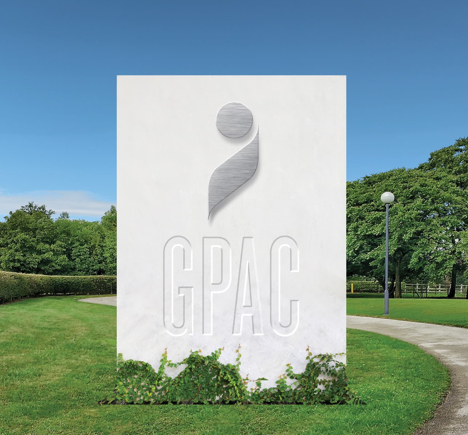 Mockup of exterior signage for GPAC