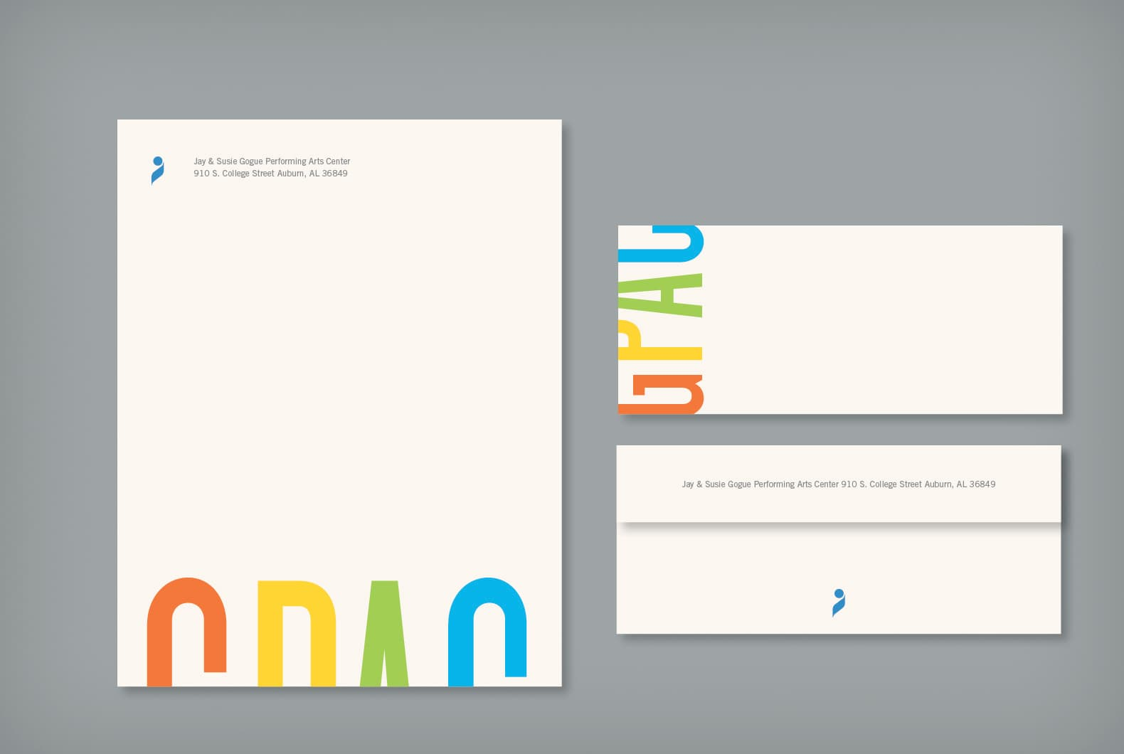 Stationery design with a colorful logo