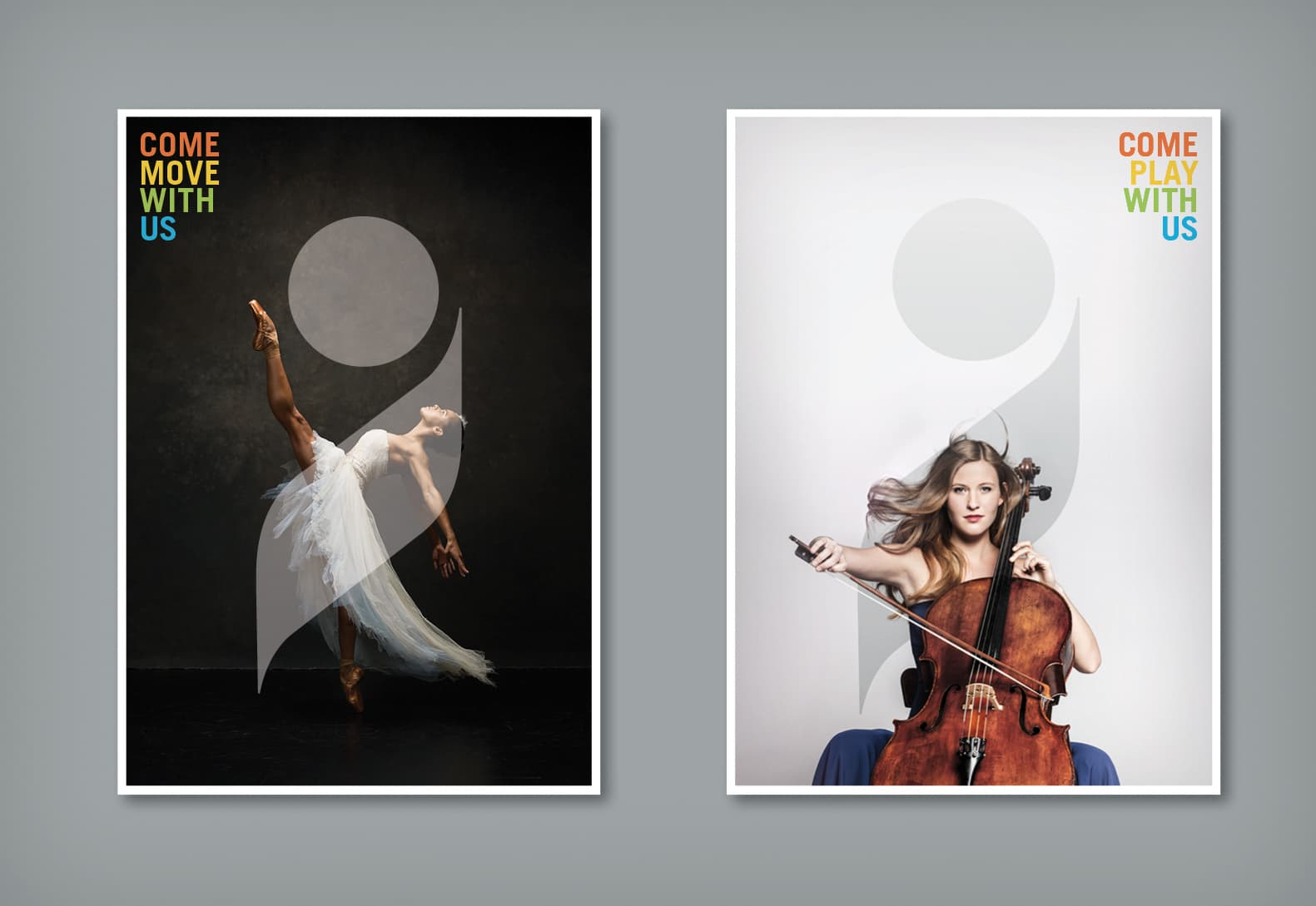 Event poster designs for a ballet performance and a cello concert